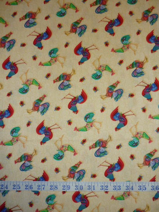 Awaken the Day Tossed Roosters Honey Cotton Quilting Fabric