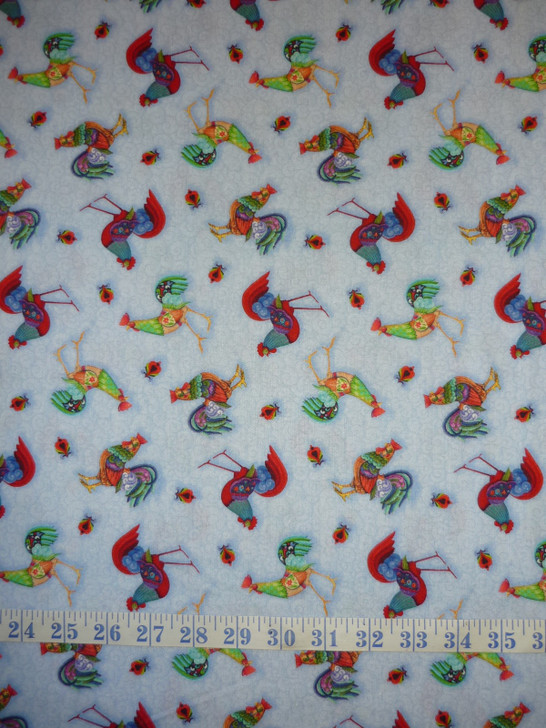 Awaken the Day Tossed Roosters Blue Cotton Quilting Fabric