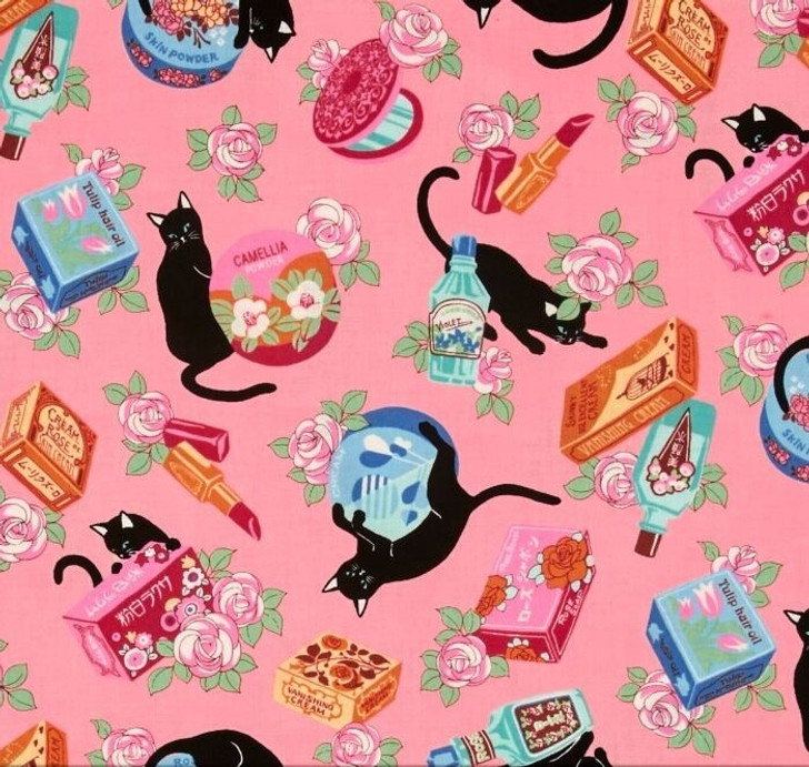 Cats Cosmo Black Cats and Makeup Pink Background Cotton Quilting Fabric 70cms