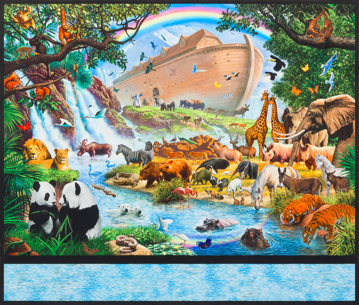 Inner Faith Noahs Ark Natural Cotton Quilting Fabric Panel is by Studio RK