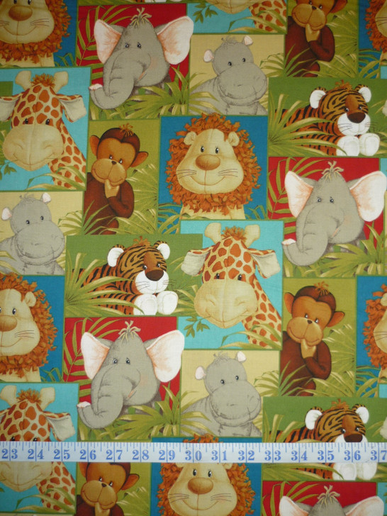 Jungle Babies Patchwork Cotton Quilting Fabric
