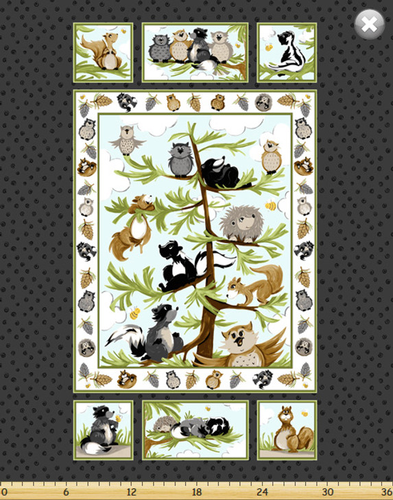 Susybee Woodland Friends Cotton Quilting Fabric Panel