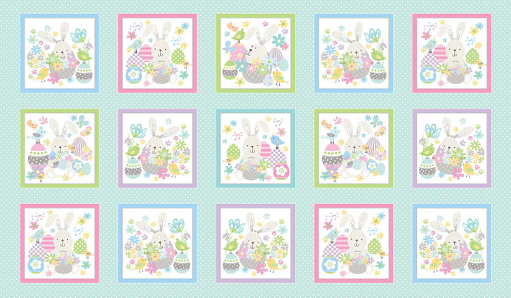 Easter Bunny Some Bunny Loves You Boxes Medium Aqua Cotton Quilting Fabric Panel