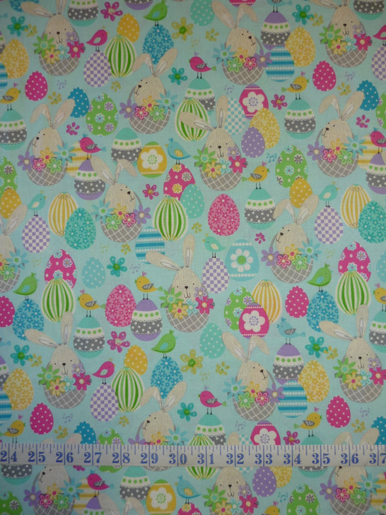 Easter Bunny baskets Aqua Some Bunny Loves You Cotton Quilting Fabric