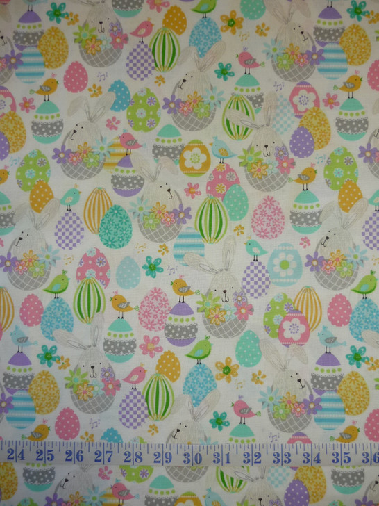 Easter Bunny baskets White Some Bunny Loves You Cotton Quilting Fabric