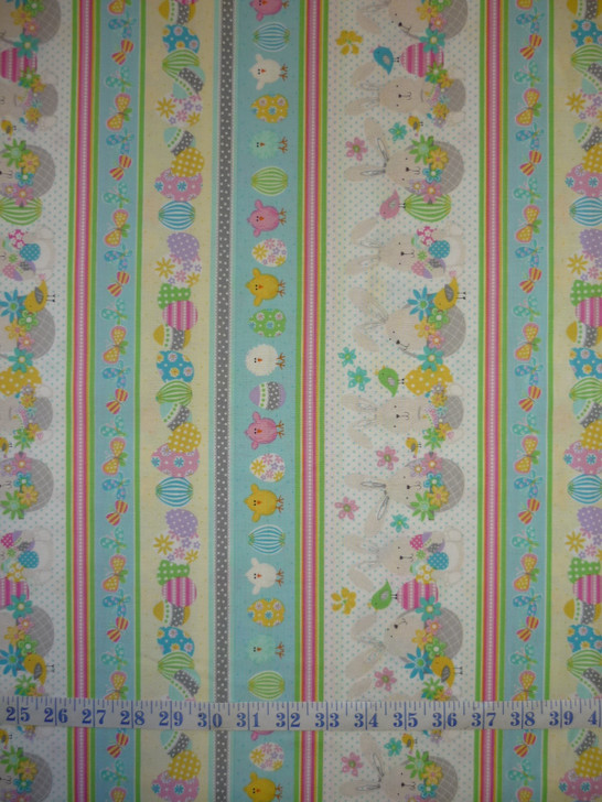 Easter Bunny Spring Stripe Some Bunny Loves You Cotton Quilting Fabric