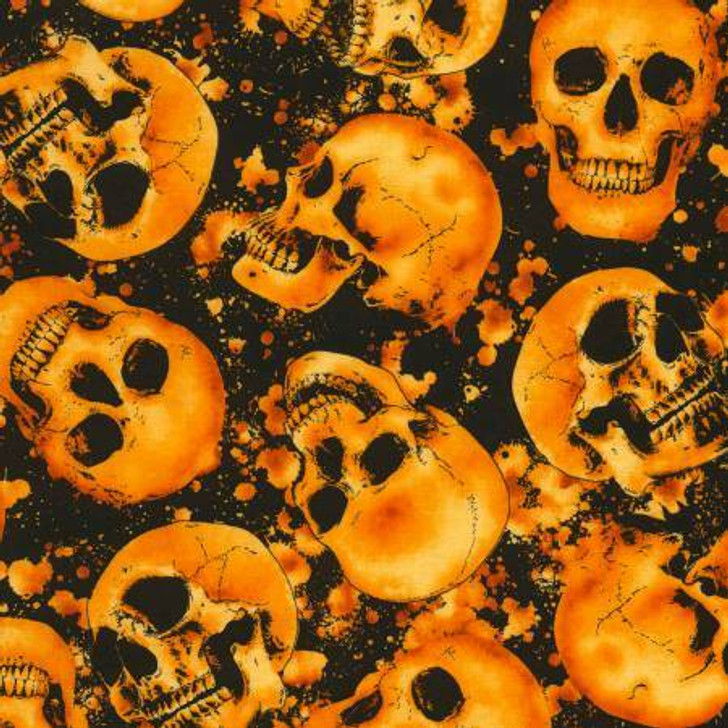 Skulls Hot Wicked Halloween Cotton Quilting Fabric