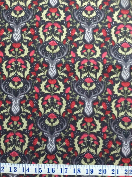 Stag Deer Slate Gold Metallic Highlights Celtic Reflections Cotton Quilting Fabric