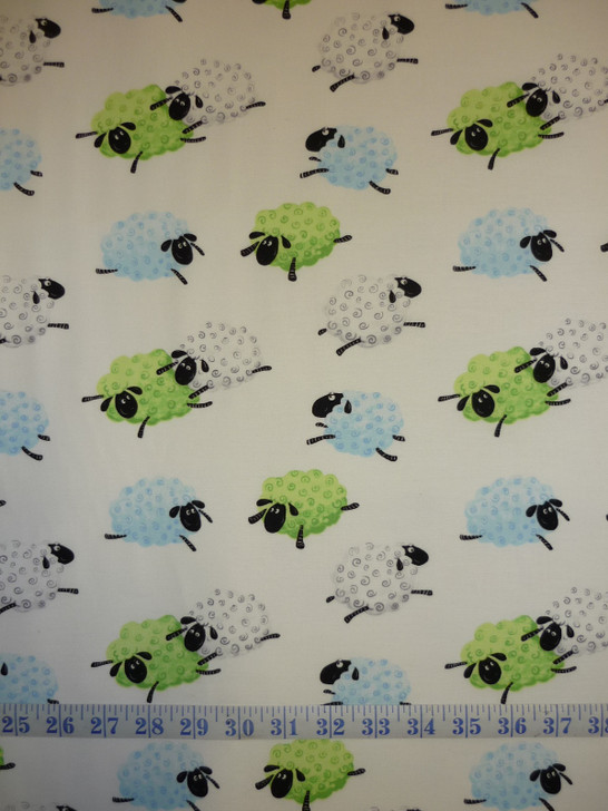 Susybee Lewes Lal the Lamb Leaping Sheep Blue and Green Cotton Quilting Fabric