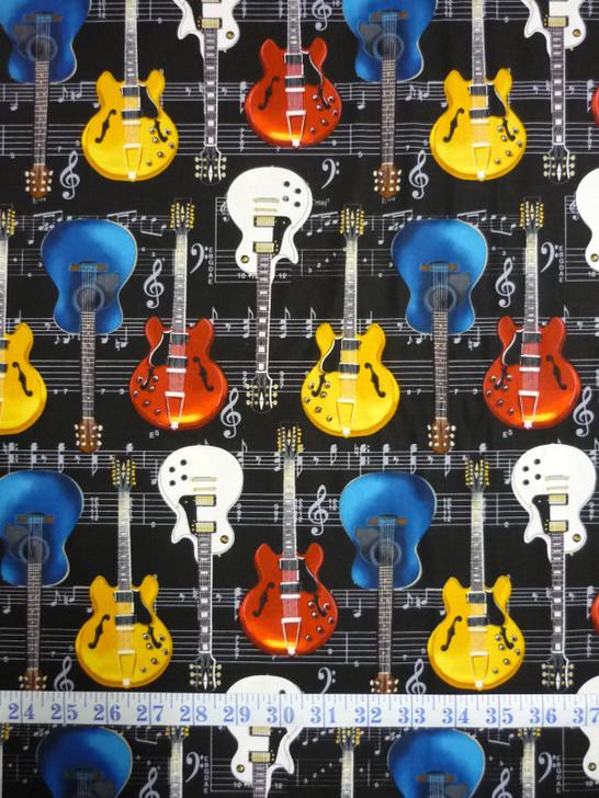 Guitars Black Laura Freeman Timeless Treasures Cotton Quilting Fabric