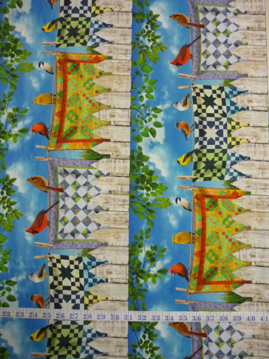 Quilt of a Feather Stripe Multi Cotton Quilting Fabric