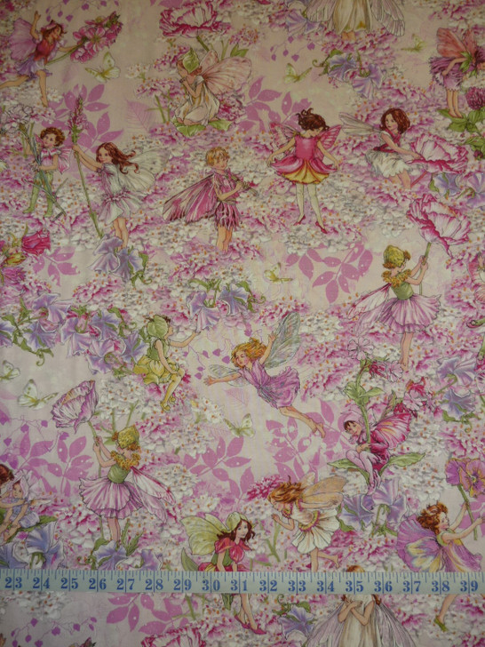 Petal Flowers Fairies Pink Michael Miller Cotton quilting Fabric