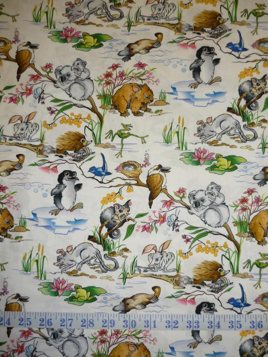 Aussie Nursery Australian Baby Animals White Cotton Quilting Fabric
