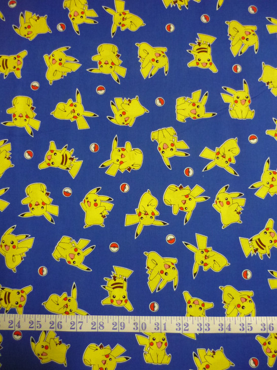 Pokemon Pikachu Toss Blue Background Cotton Quilting Fabric