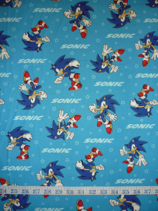 Sonic the Hedgehodge Blue Background Cotton Quilting Fabric