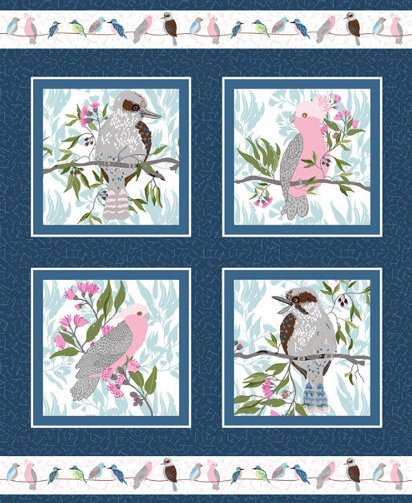 Aussie Feathered Friends Kookaburras Pink and Grey Galahs Cotton Quilting Fabric Panel