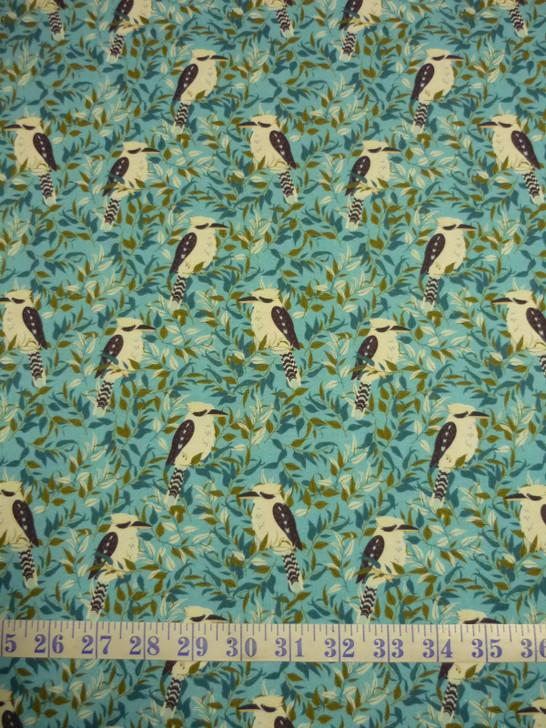 Kookaburra Calling Kookaburra Calypso Blue Cotton Quilting Fabric