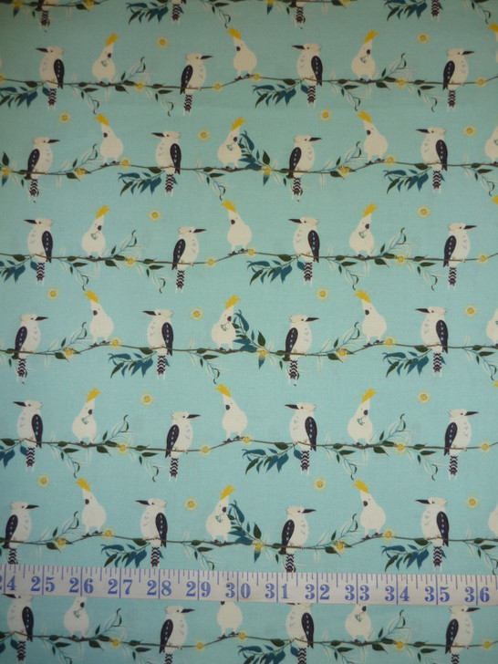Kookaburra Calling  Feathered Line-up Blue Cotton Quilting Fabric