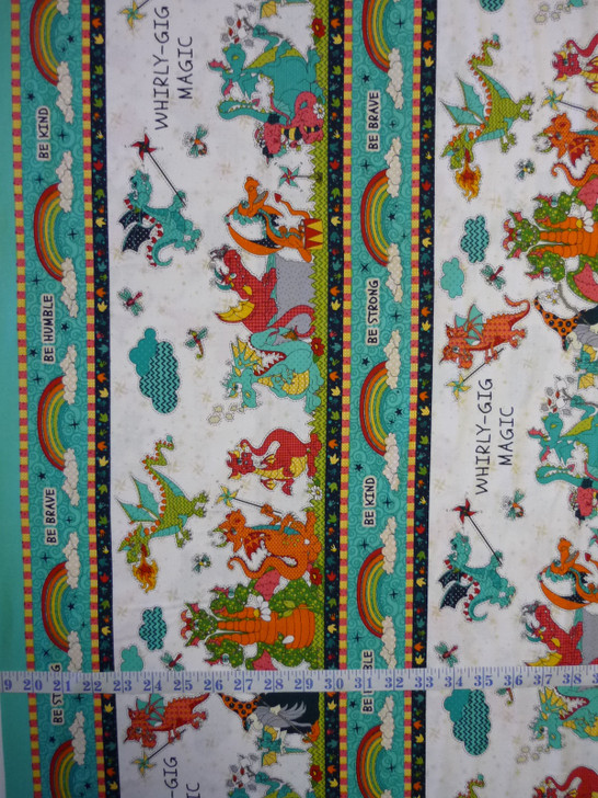 Whirly Gig Magic Dragons and Witches Stripe Cotton Quilting Fabric