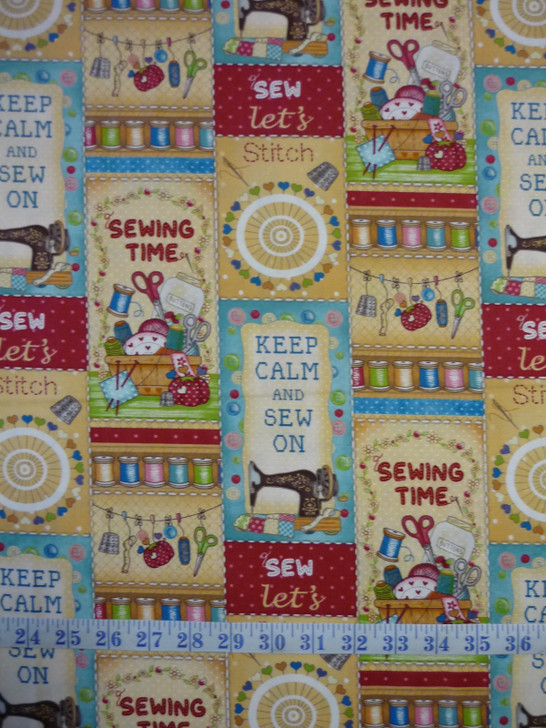 Sew Lets Stitch Patchwork Tan Cotton Quilting Fabric