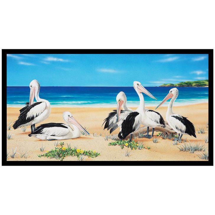 Wildlife Art 4 Pelicans Cotton Quilting Fabric Panel