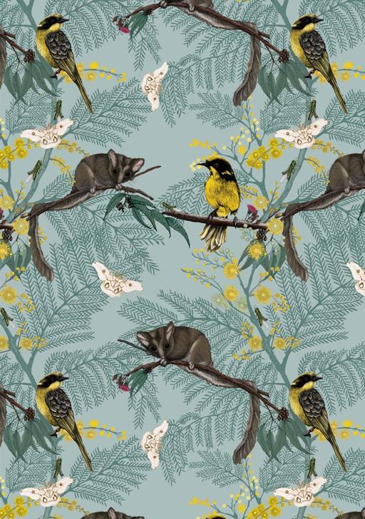 Australian Animals Leadbeater Possum and Birds Cotton Quilting Fabric 55cms