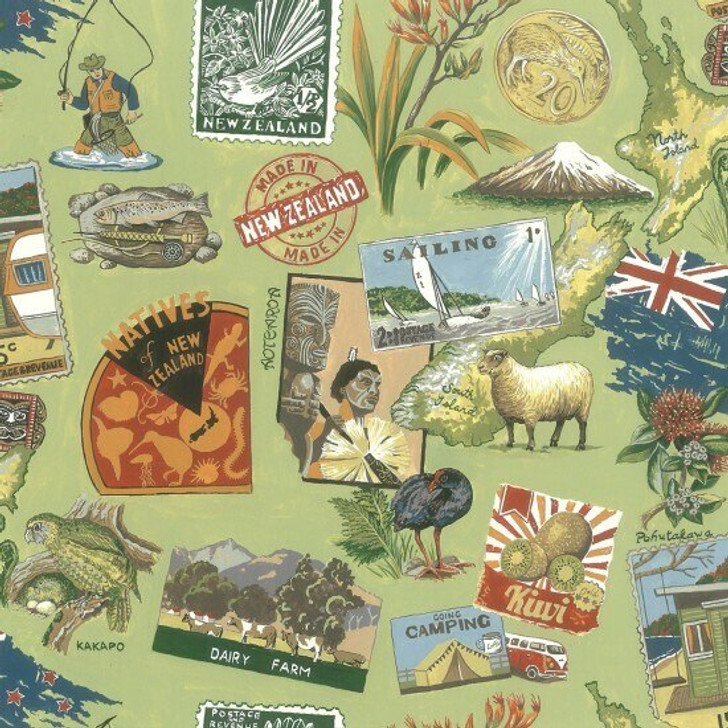 New Zealand Maori Kiwi Vintage Scattered Cotton Quilting Fabric