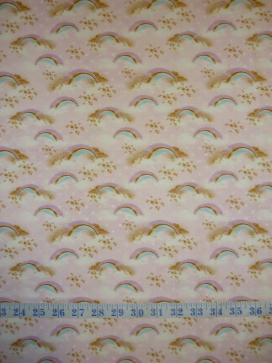 Rainbow Unicorns Radiant Rainbows Pink Cotton Quilting Fabric