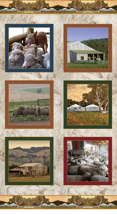 Merino Muster Farm Australian Sheep Station Cotton Quilting Fabric Panel