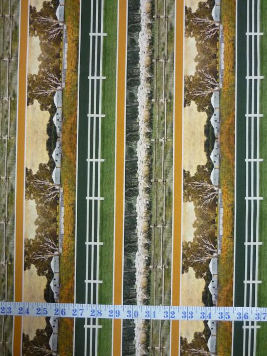 Merino Muster Farm Stripe Merino Sheep Cotton Quilting Fabric
