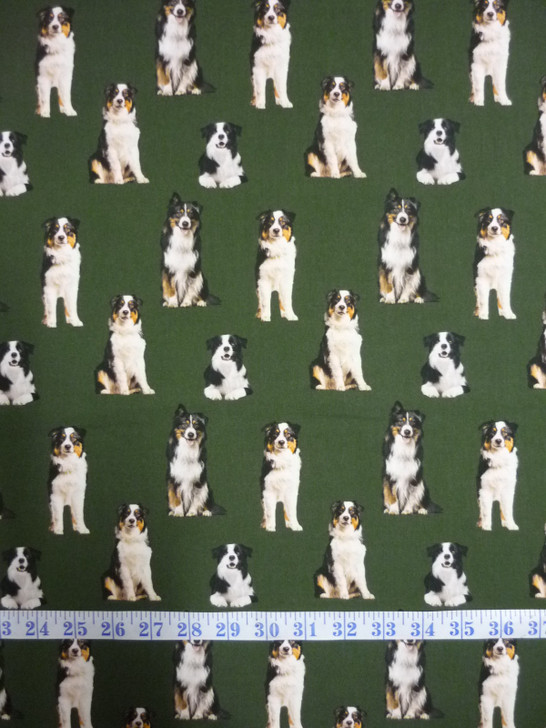 Merino Muster Sheep Dog Border Collie Green Background Cotton Quilting Fabric