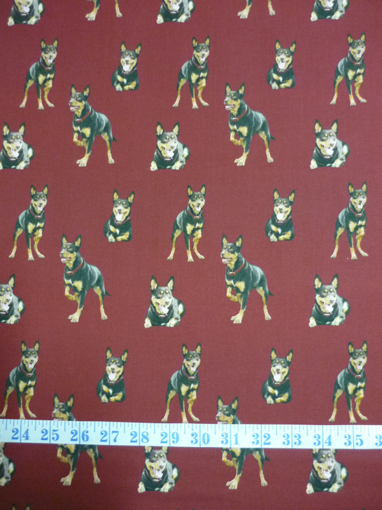 Merino Muster Sheep Dog Kelpie Red Background Cotton Quilting Fabric
