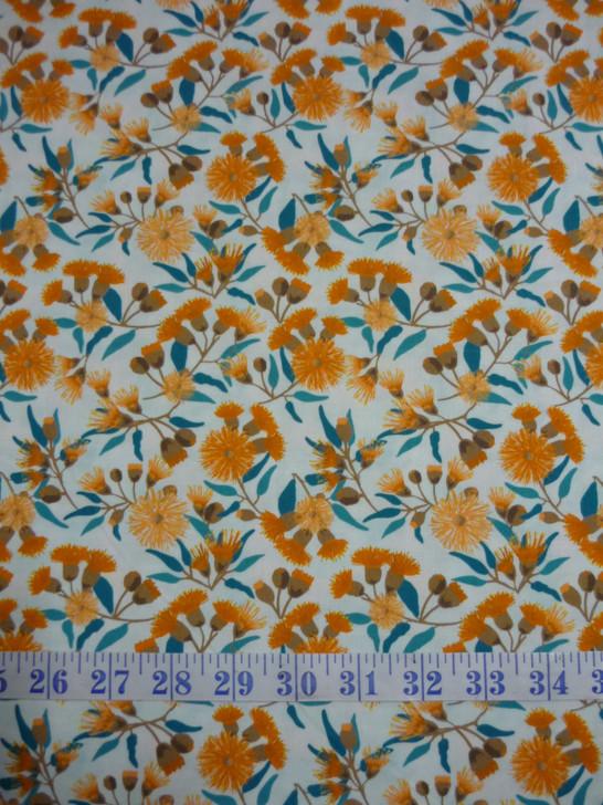 Sweet Botanical Australian Tan Flowering Gum Cotton Quilting Fabric