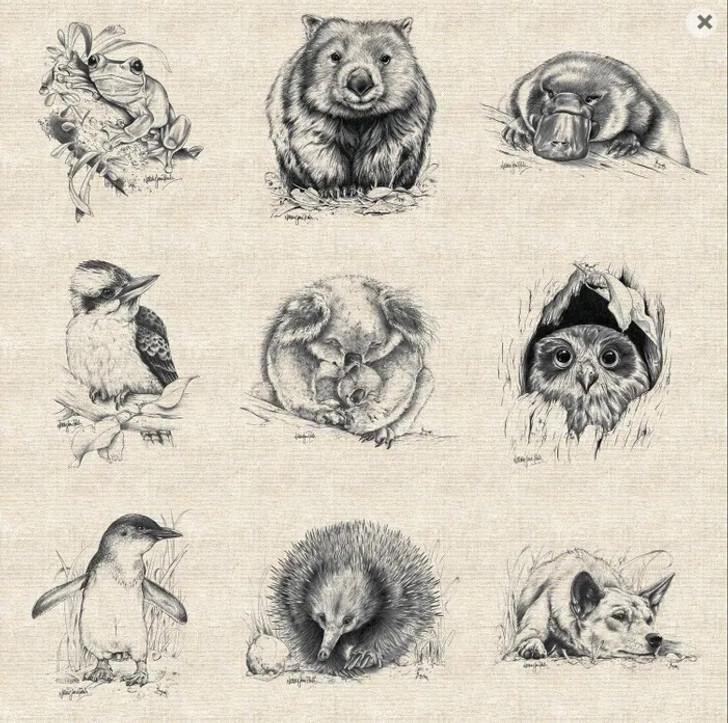 Australian Wildlife Art Birds and Animals Extra Large Linen/Cotton Quilting Fabric Panel