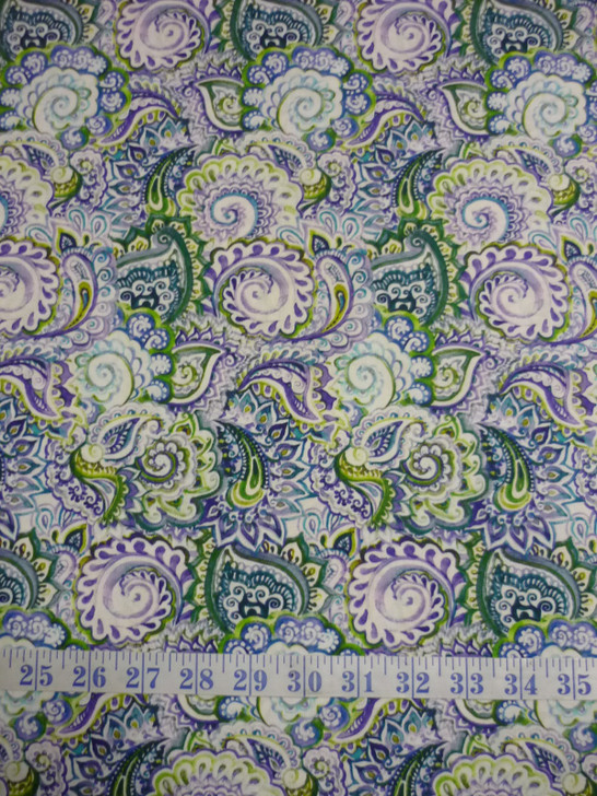 Leah Collection Paisley Floral Cotton Quilting Fabric
