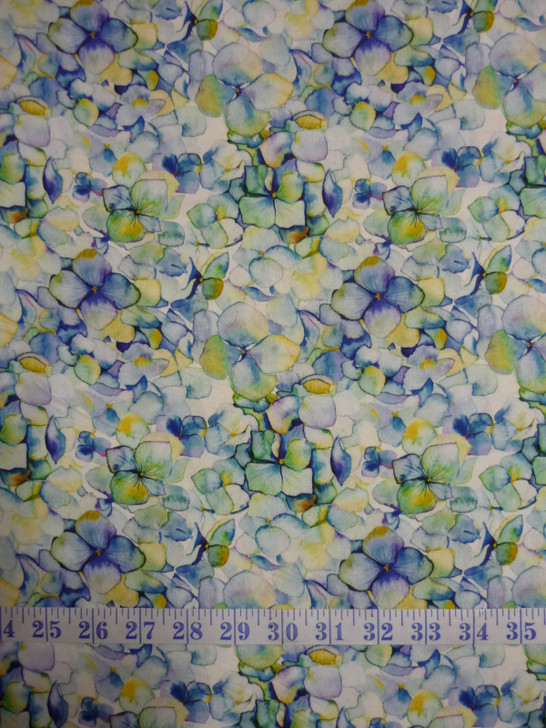 Leah Collection Large Hydrangea Floral Cotton Quilting Fabric