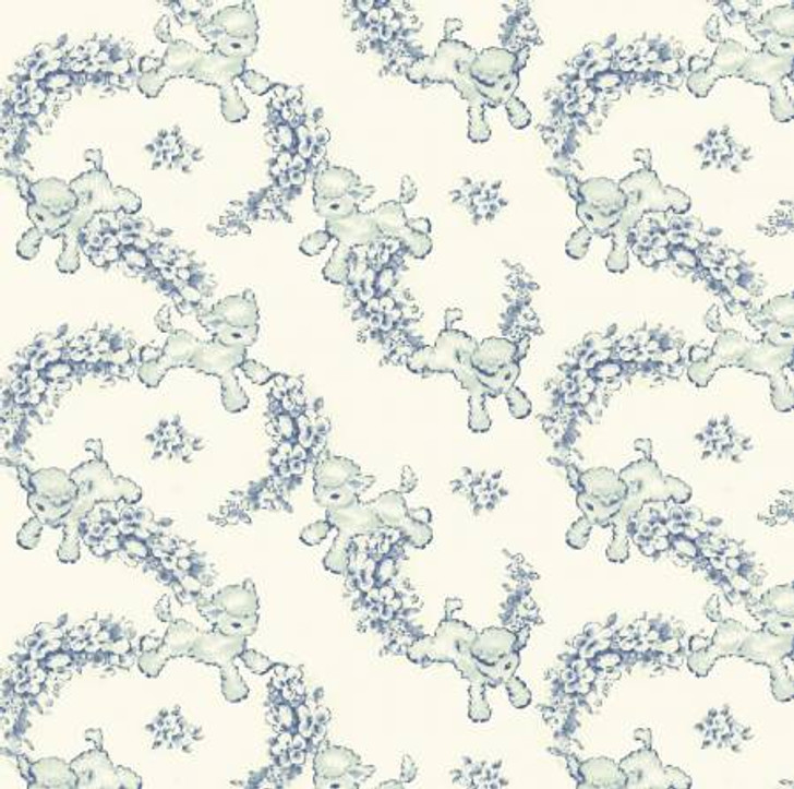 Sheep Lambs Light Blue Thats My Baby Cotton Quilting Fabric 1/2 YARD