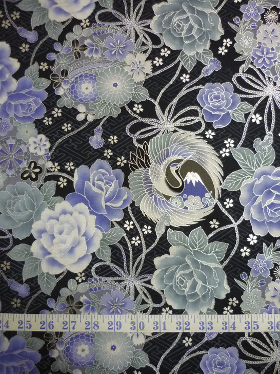 Cranes Flowers Silver Highlights Toto Navy Japanese Asian Cotton Quilting Fabric