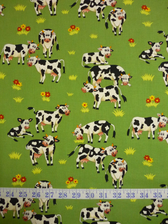 Farm Fun Cows in the Paddock Cotton Quilting Fabric