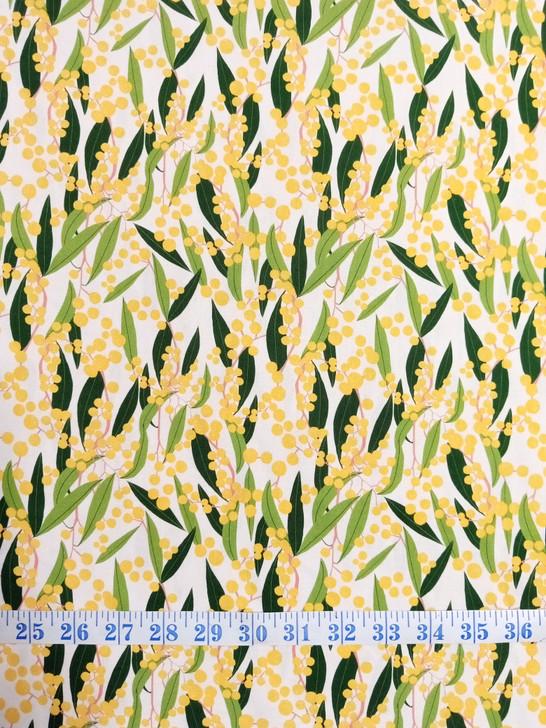 Australian Wattle White Background Robyn Hammond Cotton Quilting Fabric