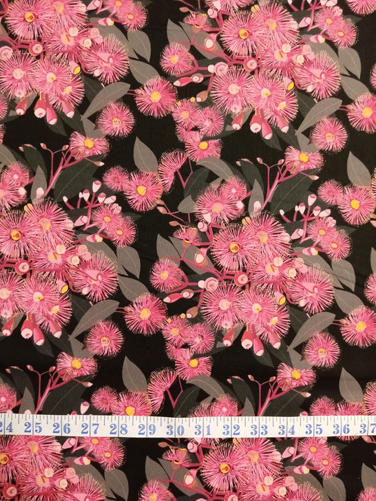 Australian Pink Flowering Gum Black Background Robyn Hammond Cotton Quilting Fabric