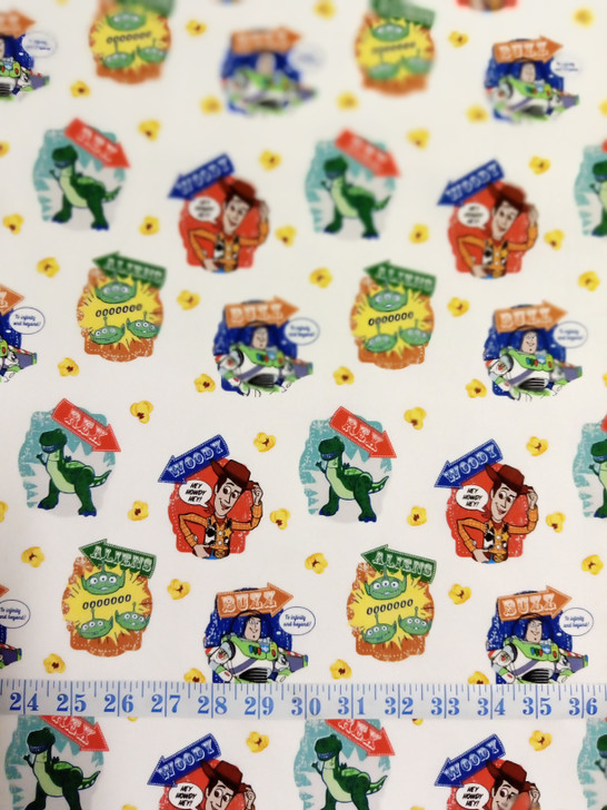 Disney Toy Story  Woody Buzz Lightyear and Characters Badges White Background Cotton Quilting Fabric