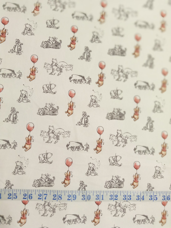 Disney Winnie the Pooh Sketch Cotton Quilting Fabric