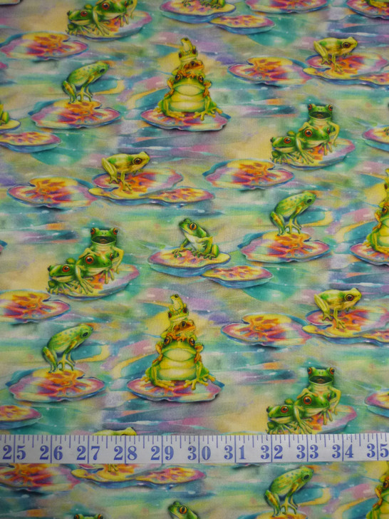 Wild Magic Frogs Cotton Quilting Fabric