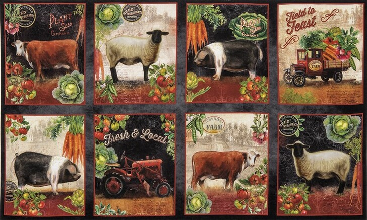 Down on the Country Farm Cows Sheep Pigs Tractors Cotton Quilting Fabric Panel