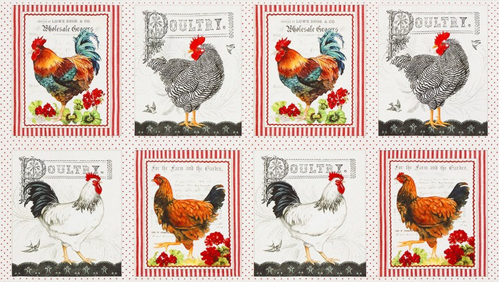 Down on the Country Farm Roosters Hens Chickens Cotton Quilting Fabric Panel