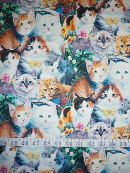 Curious Cats Kittens Springtime Two Cotton Quilting Fabric