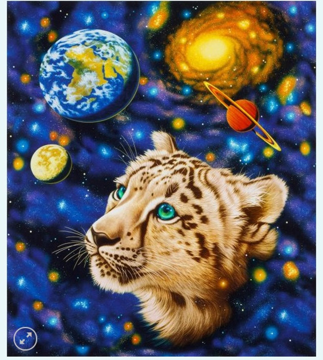 Celestial The Living Universe with Cheetah Cotton Quilting Fabric Panel