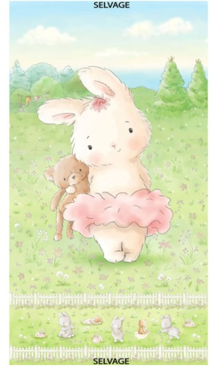 Multi Friendship Blossoms Bunny Rabbit Cotton Quilting Fabric Panel