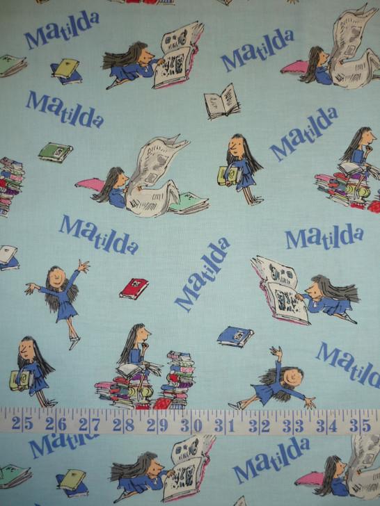 Matilda Roald Dahl Main Blue Cotton Quilting Fabric